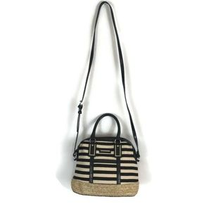 Dana Buchman Purse Black White Stripe Shoulder Bag